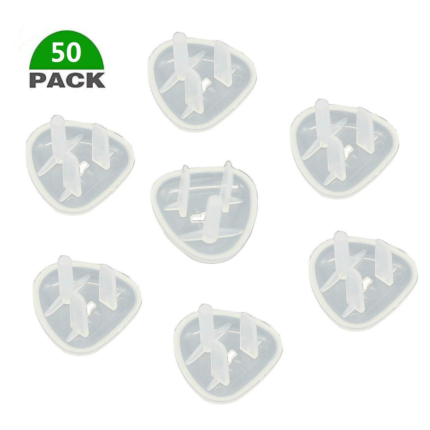 (50 Pack) Clear Outlet Covers,HEPNA Baby Proofing Plug Covers 3 Prong-Protect Child from Electric Shock