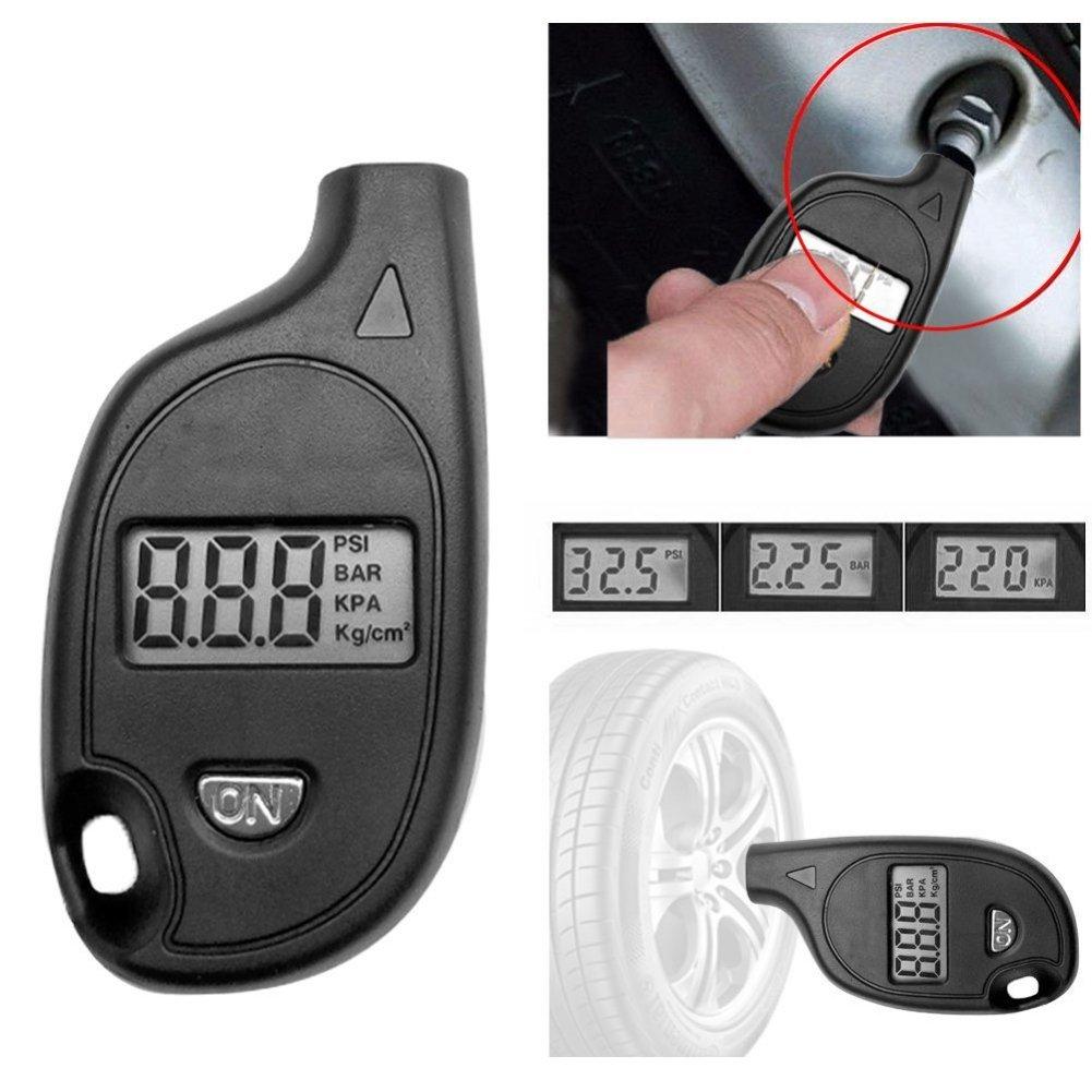 Fairylove Mini LCD Numé rique Pneu Portable 2-150PSI Pneu Air Manomè tre Testeur Keychain pour Auto, Vé lo, Moto, Camion, Digital Tire Gauge Vélo