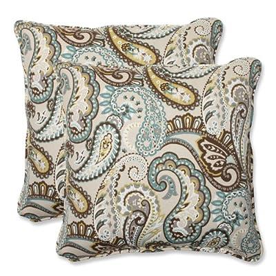 Pillow Perfect Outdoor Tamara Paisley Quartz Throw Pillow, 18.5-Inch, Set of 2