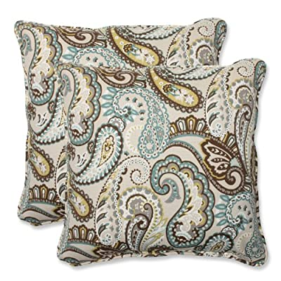 Pillow Perfect Outdoor Tamara Paisley Quartz Throw Pillow, 18.5-Inch, Set of 2 - Includes two (2) outdoor pillows, resists weather and fading in sunlight; Suitable for indoor and outdoor use Plush Fill - 100-percent polyester fiber filling Edges of outdoor pillows are trimmed with matching fabric and cord to sit perfectly on your outdoor patio furniture - living-room-soft-furnishings, living-room, decorative-pillows - 61LF3uo8PaL. SS400  -