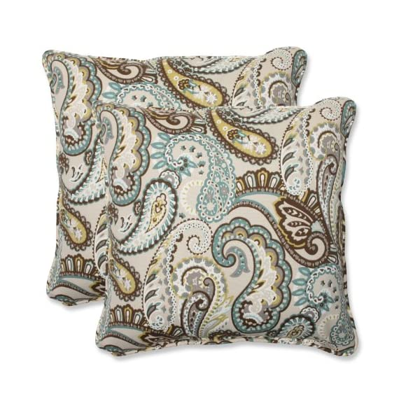 Pillow Perfect Outdoor Tamara Paisley Quartz Throw Pillow, 18.5-Inch, Set of 2 - Includes two (2) outdoor pillows, resists weather and fading in sunlight; Suitable for indoor and outdoor use Plush Fill - 100-percent polyester fiber filling Edges of outdoor pillows are trimmed with matching fabric and cord to sit perfectly on your outdoor patio furniture - living-room-soft-furnishings, living-room, decorative-pillows - 61LF3uo8PaL. SS570  -