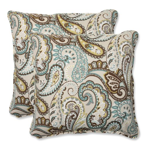 Throw Pillows Outdoor Paisley (Pillow Perfect Outdoor Tamara Paisley Quartz Throw Pillow, 18.5-Inch, Set of 2)