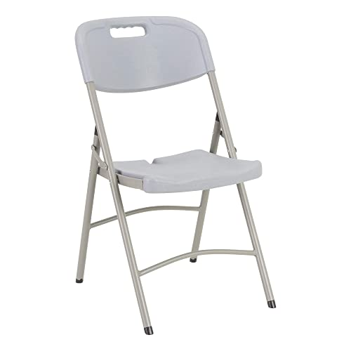 Norwood Commercial Furniture Heavy-Duty Indoor Outdoor Blow-Molded Folding Chair Gray Pack of 4