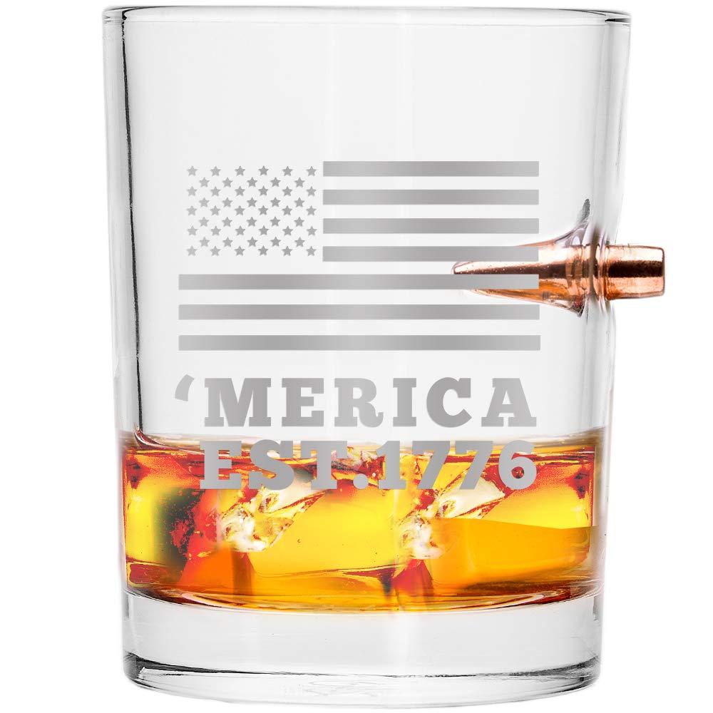 Lucky Shot .308 Real Bullet Handmade Whiskey Glass - 'Merica EST. 1776
