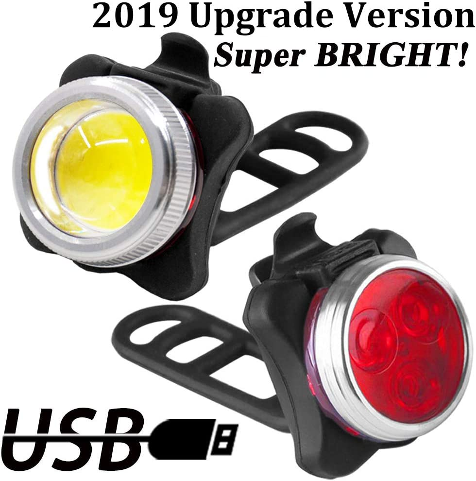 Rechargeable Bright LED Bike Lights Set Headlight Taillight Combinations LED