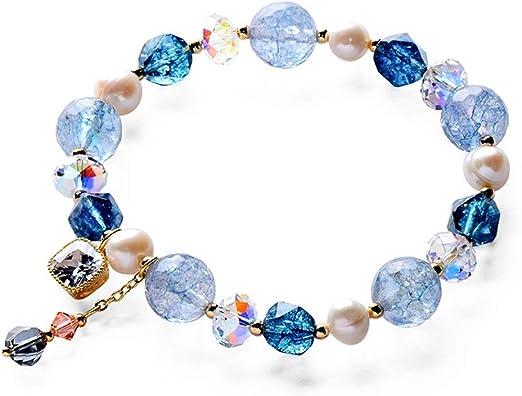 Nueva llegada Azul Mock learth Pulsera Con Multi Cristal Diseño-Regalo Joyas
