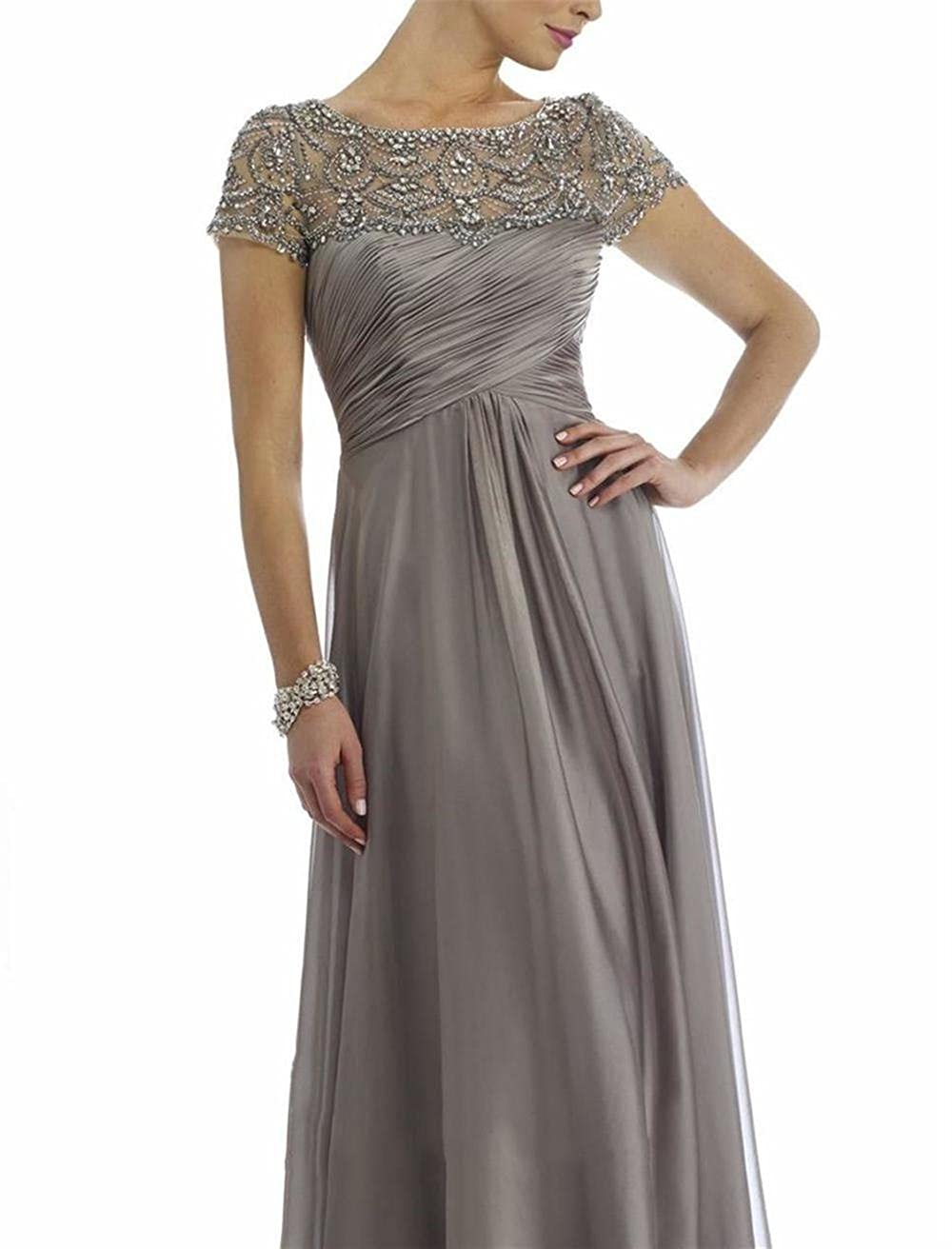 885cbf92ec2d5b Newdeve Chiffon Mother Of The Bride Dresses Long Pleated With Rhinestones  Short Sleeve at Amazon Women's Clothing store: