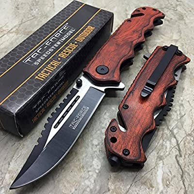 Tac Force G'Store Vintage Wooden Handle Pocket Hunting Tactical hunting Handy Knife