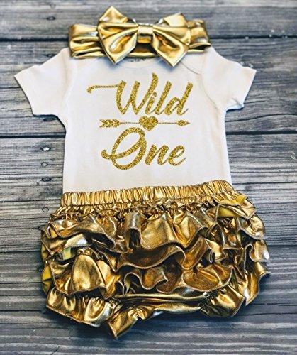 Wild one bodysuit - First birthday girl - 1st birthday - Wild and one - Baby girl bodysuit - Birthday girl - Gold glitter bodysuit - Wild one birthday shirt - birthday top - 12 months -
