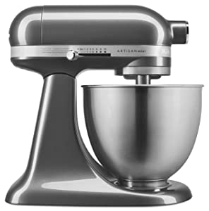 KitchenAid KSM3311XQG Artisan Mini 3.5 Quart Tilt-Head Stand Mixer Qt, Liquid Graphite