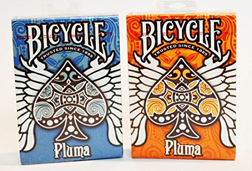 6 Deck Set of Bicycle Pluma Playing Cards Deck Blue & Orange (Cards Orange Playing Bicycle)
