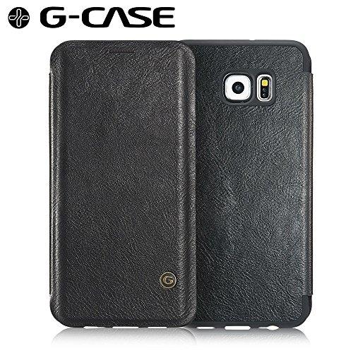 For Samsung Galaxy S6 Edge Plus Shockproof, G-CASE [Business] Ultra Slim Folio Flip Leather Wallet Case With Card Slot for Cash (G-Case Flip Black)