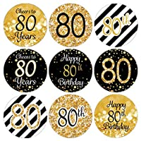 DISTINCTIVS Black and Gold 80th Birthday Party Favor Stickers - 180 Labels