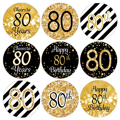 DISTINCTIVS Black and Gold 80th Birthday Party Favor Labels | 180 Stickers]()