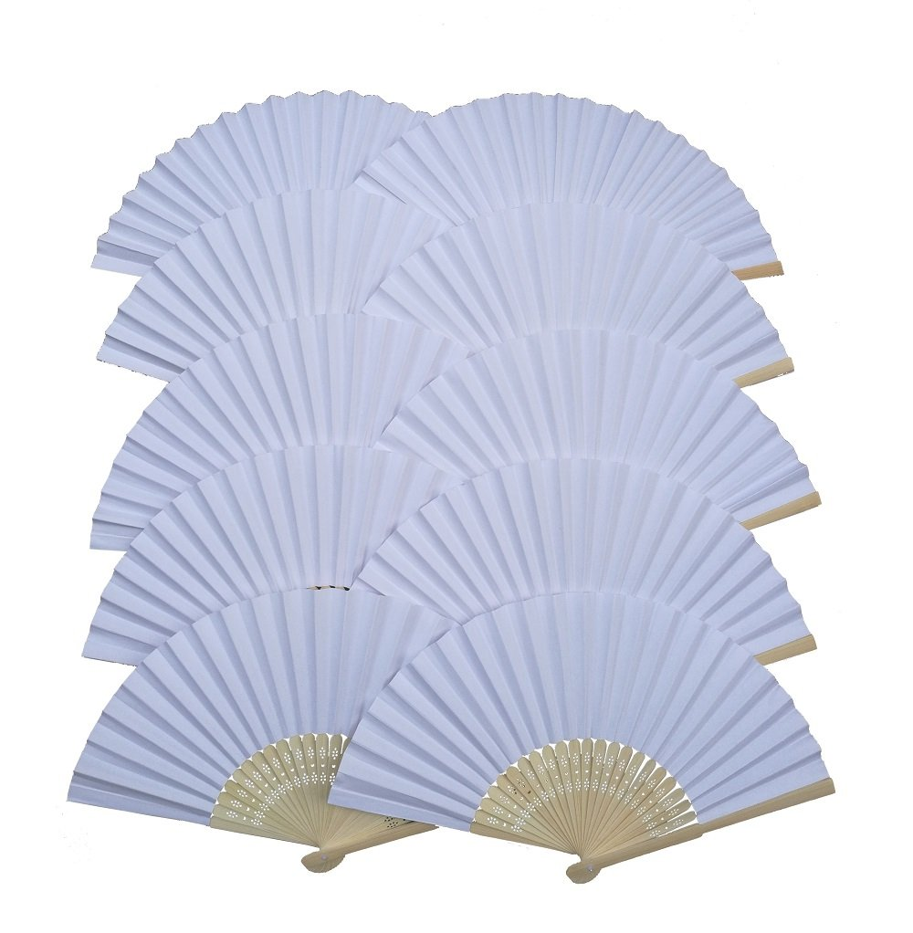 IGBBLOVE Paper Folding Hand Fan Wedding Party Favor- White,10 pack IGGO