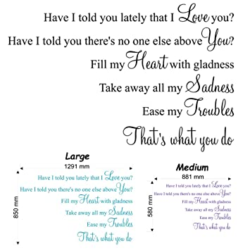 Have I Told You Lately That I Love You (Van Morrison) Lyric wall decal  sticker quote (Medium)