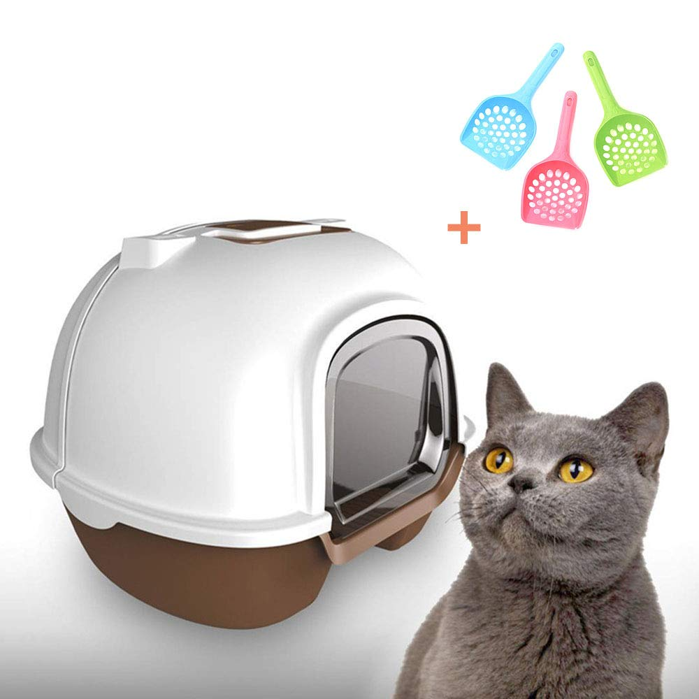LIZONGFQ Cats Litter Box Large Fully Enclosed Back Cover Toilet Easy To Clean Ideal For Larger Breeds Or Multi Cat Families (Including Three Shovel)