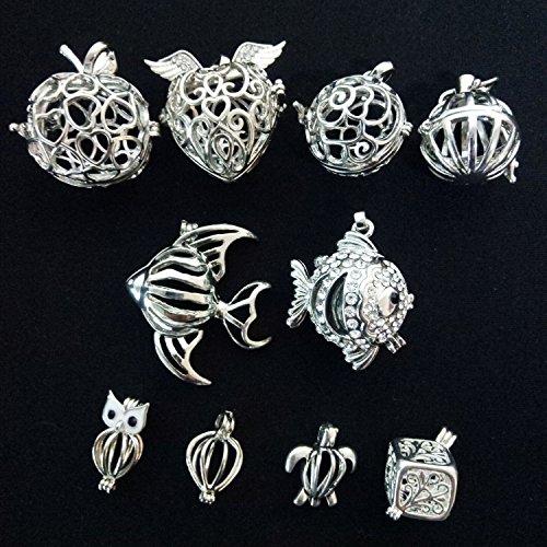 HENGSHENG 10pcs Mixed Shape Cage Locket Clip Gem Beads Box