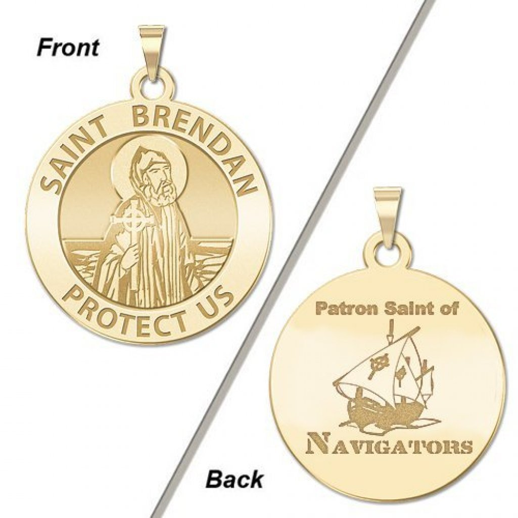 White Gold PicturesOnGold.com Saint Brendan Double Sided Navigator Round Religious Medal 3//4 Inch Size of a Nickel