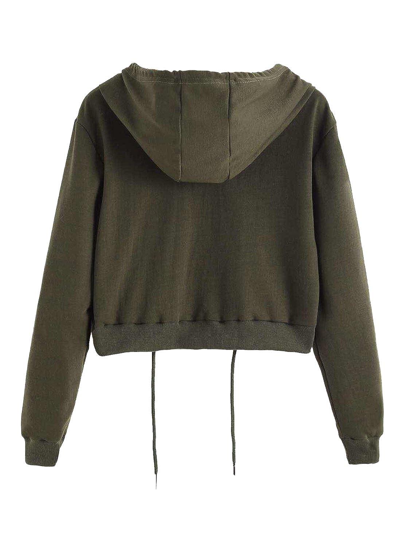 Choies Women Light Gray Hooded Top Sweatshirt Drawstring Cropped ...
