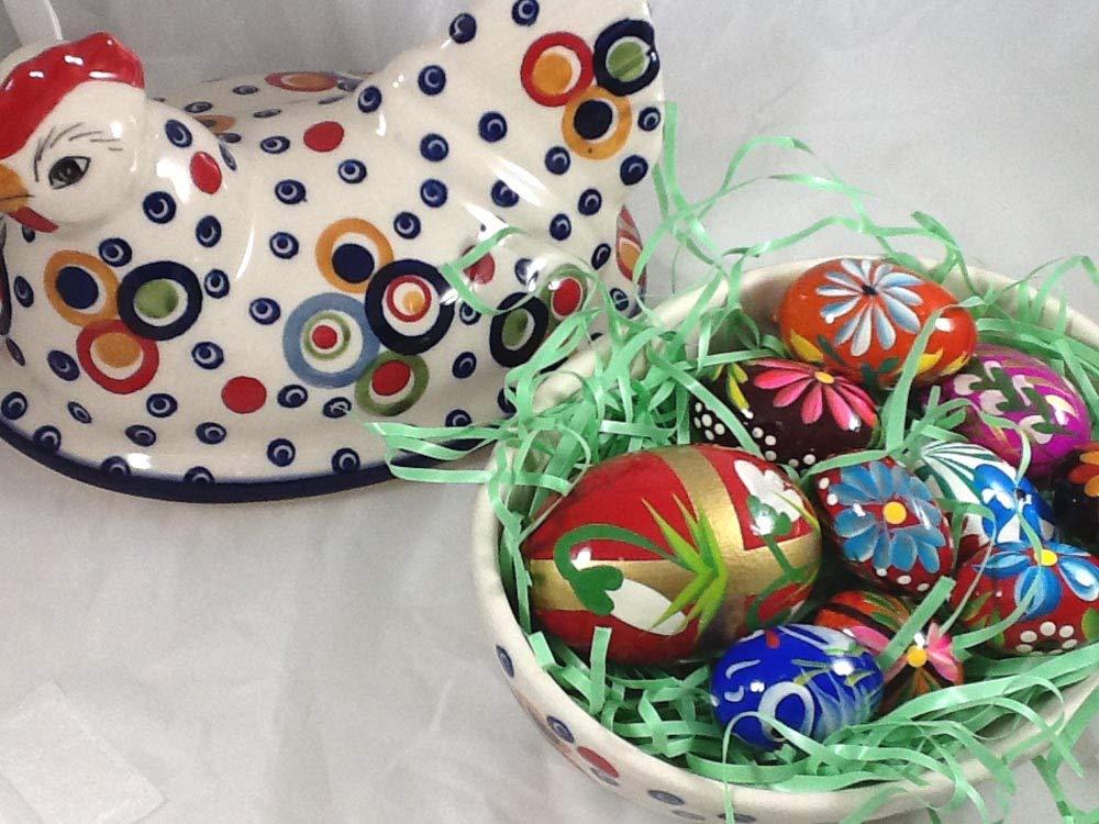 Polish Pottery Easter Chicken on Nest Baker in Celebration with 6 Handpainted Wooden Polish Eggs Pisanki
