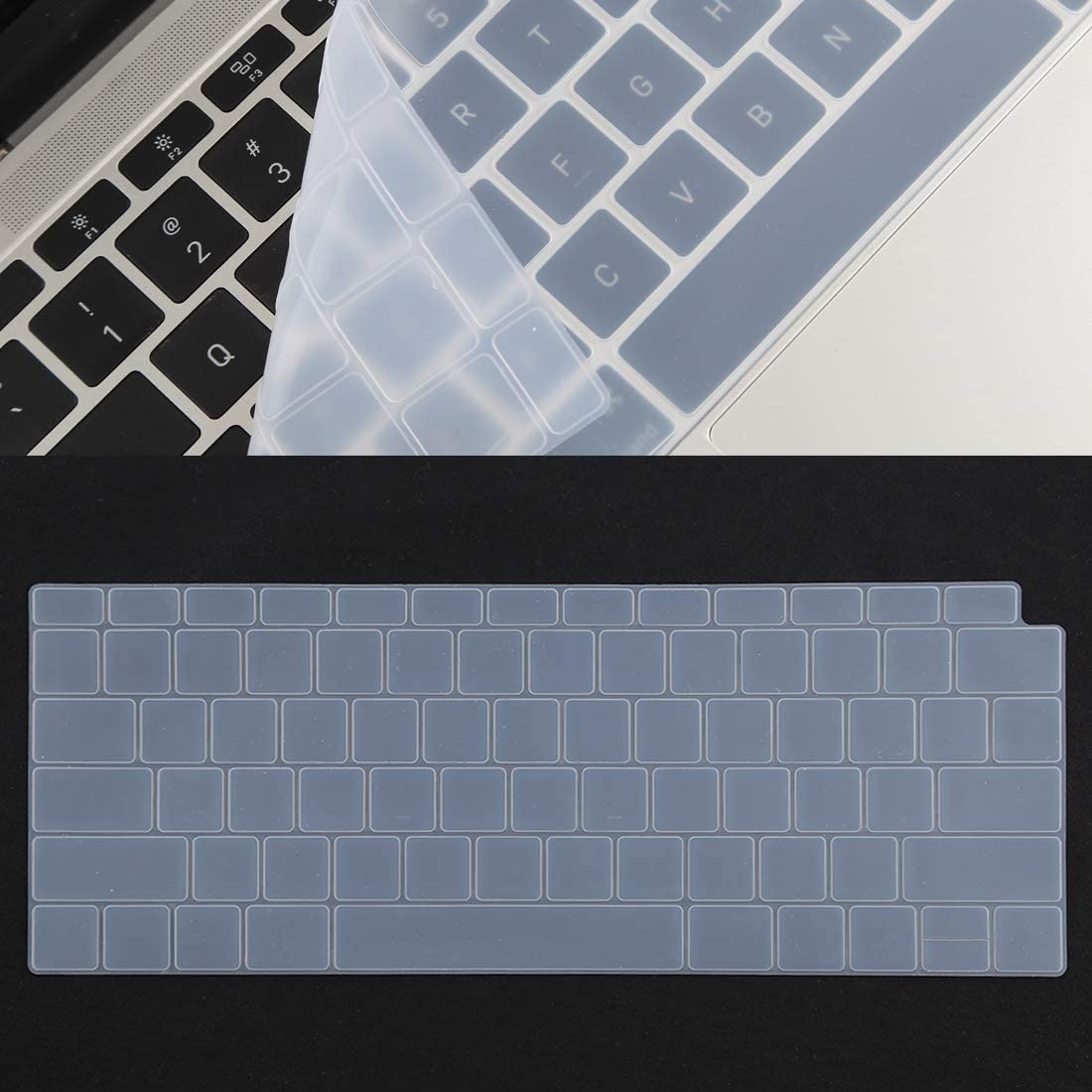 Timemall 13.3 inch A1502 Protective Film Keyboard Protector Silica Gel Film for MacBook Air 13 Anti-Scratch: Hard Coating in The Surface Black not Easily Scratched. Color : Transparent A1932
