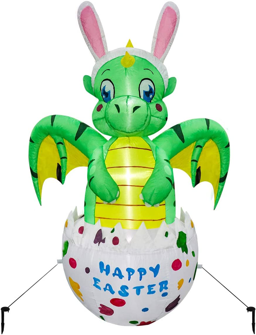 Meland Easter Inflatable Decorations 4.5FT - Inflatable Dinosaur in Eggs - Easter Blow up Décor with Light for Party Indoor Outdoor, Yard, Garden, Lawn