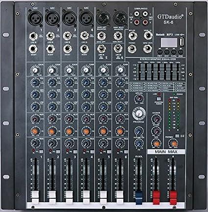 gtd-audio 6 canal 4000 W profesional mesa de mezclas amplificador ...
