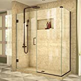 DreamLine Unidoor Plus 34 3/8 in. D x 60 in. W, Frameless Hinged Shower Enclosure, 3/8'' Glass, Oil Rubbed Bronze Finish