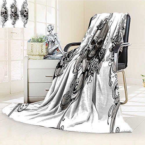 YOYI-HOME Luxury Double-Sides Reversible Fleece Duplex Printed Blanket Tattoo Tattoo Artist Angel Inspired with Tattoo Ink Pencil and Fierce Skull Art Black and White Travelling and Camping Blanket ()
