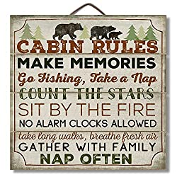 Highland Graphics 12 Wood Sign Cabin Rules with Bear Wall D飯r Multi