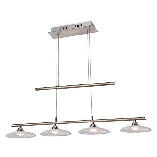 Firstlight Products Nassau LED Pendant, 4 Light Rise & Fall, Silver