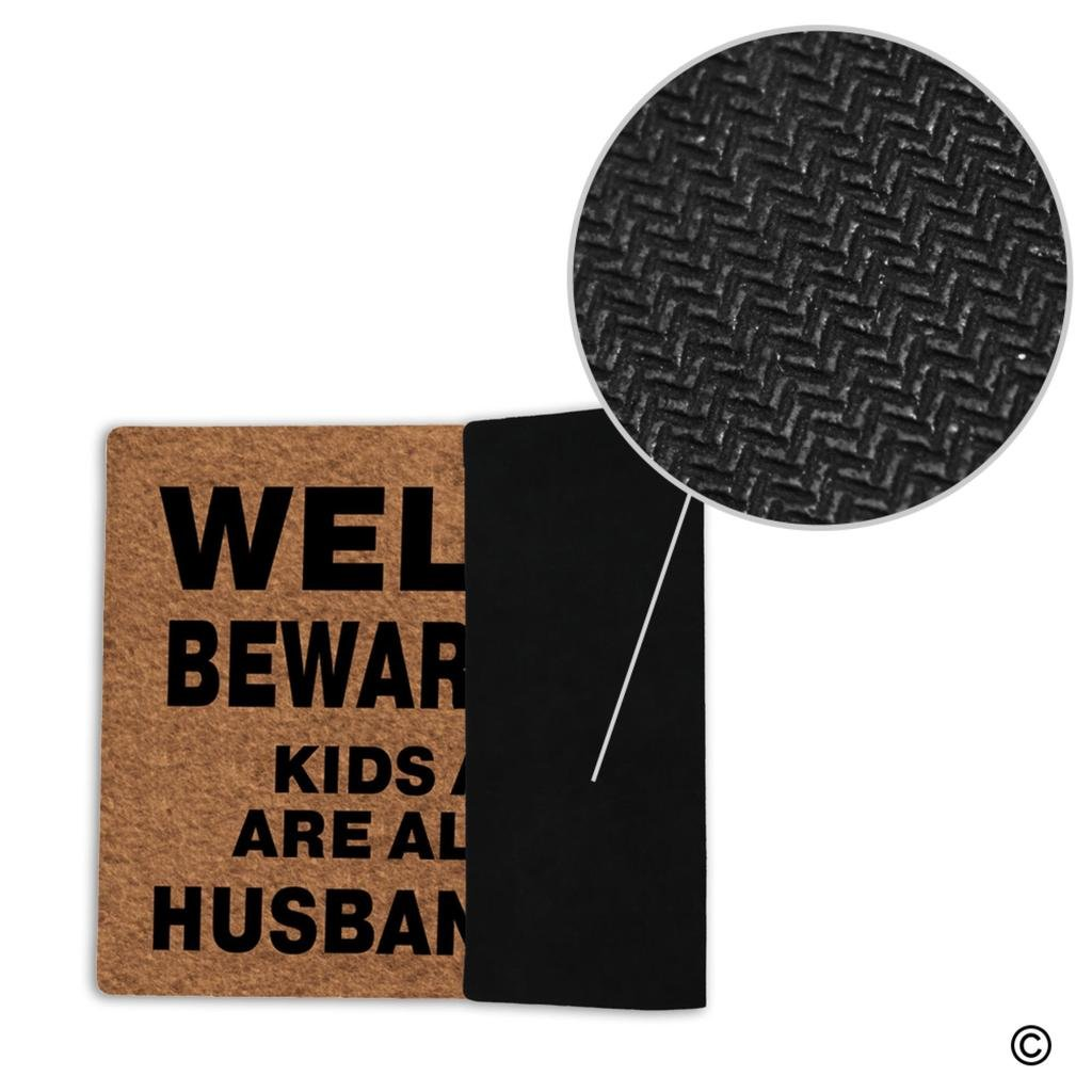MsMr Doormat Entrance Floor Mat Funny Door Mat Welcome Beware Of Wife Kids And Pets Are Also Shady Husband Is Cool Non-slip Doormat Machine Washable Non-woven Fabric Top 23.6''X15.7'' by MsMr (Image #3)