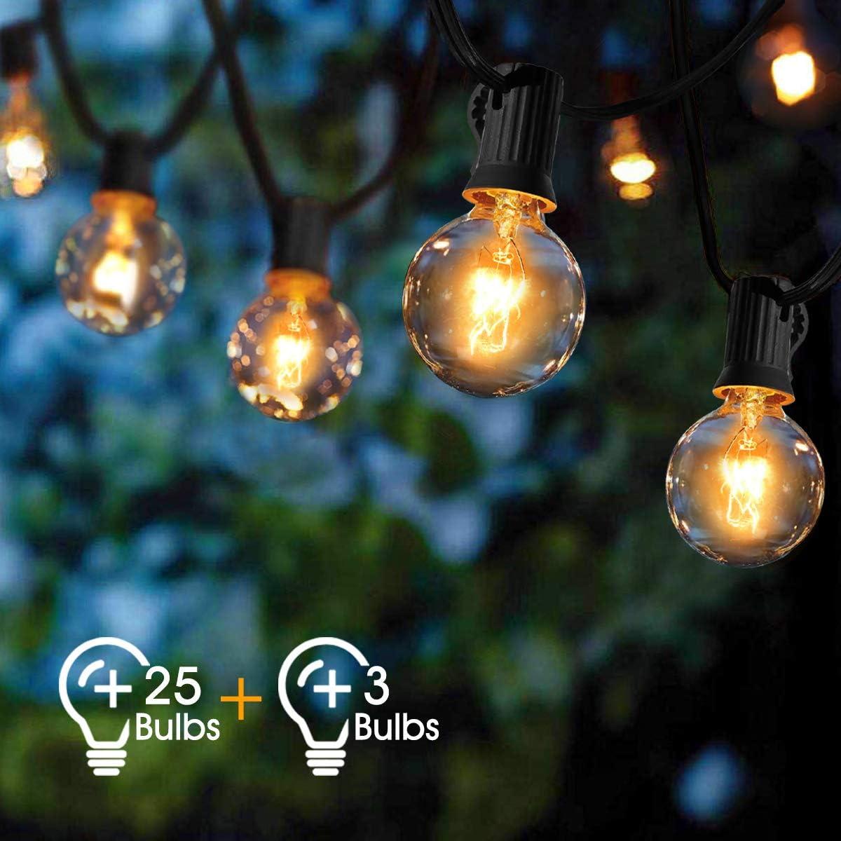 Guirnaldas luminosas de exterior,VIFLYKOO Cadena de Luz G40 ...