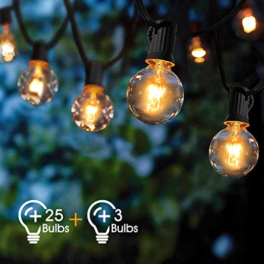 Outdoor String Lights Viflykoo Outdoor Garden Patio Globe String Lights Waterproof G40 31ft 25 Bulbs With 3 Spare Bulbs Fairy Lights For Indoor Outdoor Decor Wedding Party Christmas Warm White Amazon Co Uk Lighting
