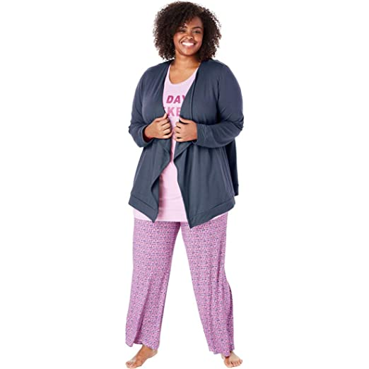 b9134da4885 Dreams   Co. Women s Plus Size French Terry Wrap with Pockets at ...
