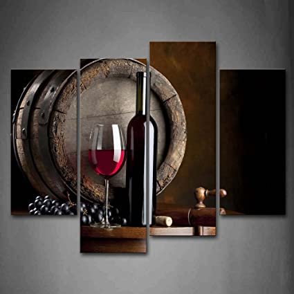 Wine And Fruit With Glass And Barrel Wall Art Painting For Kitchen Pictures  Print On Canvas