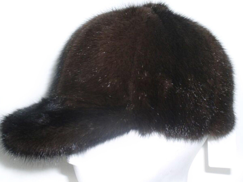 FursNewYork Mahogany Mink Baseball Hat w/Ponytail Hole- Unisex L