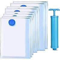 TXG Bolsas de Vacío Almacenamiento,Paquete de 8 + Bomba Manual Gratis para Viajes,Premium Vacuum Storage Bags para Ropa…