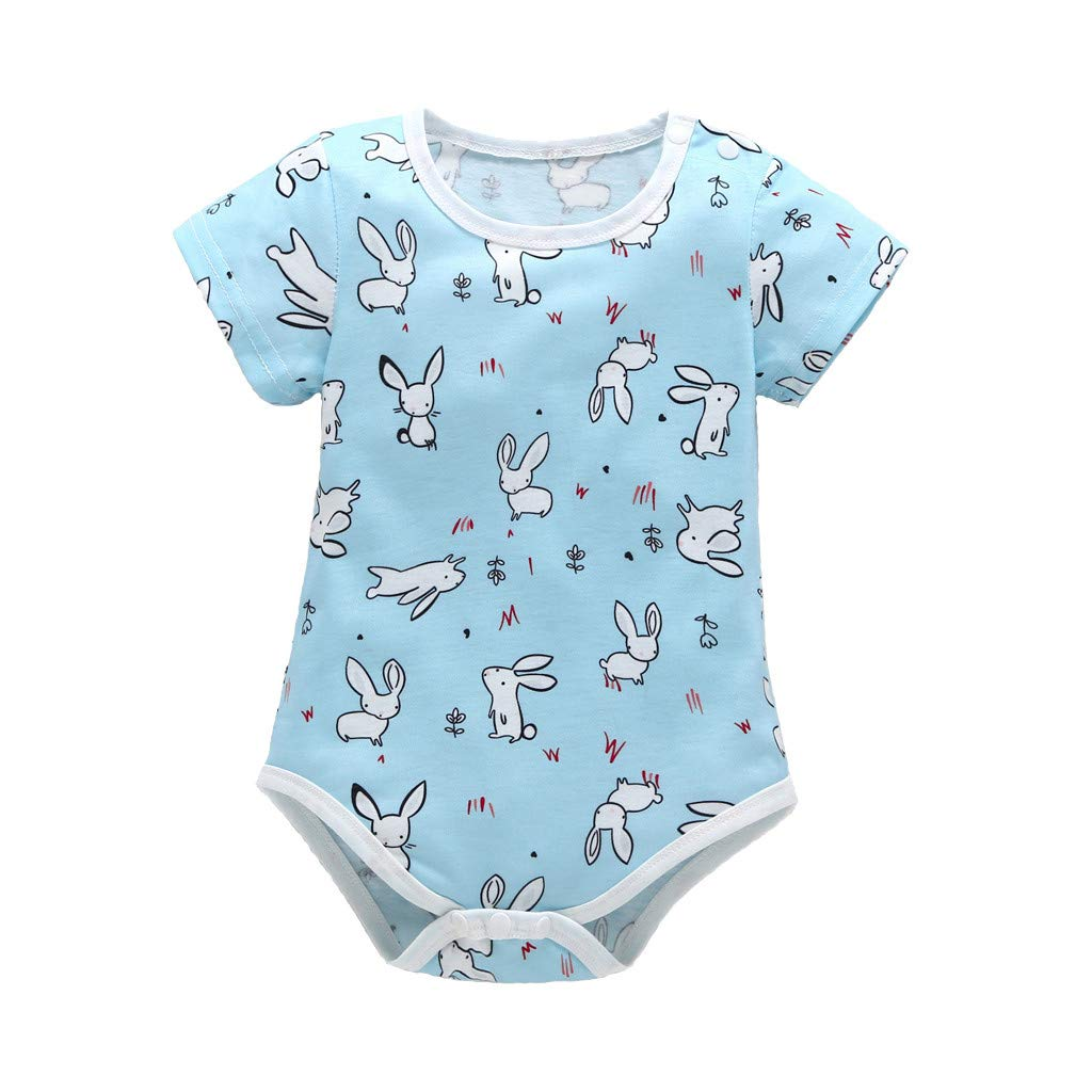Short Sleeves Cartoon Toddler Baby Romper Jumpsuits Rabbit Print O Neck Pajamas Sleepwear Bodysuits Unifits (Blue, 18-24 M)
