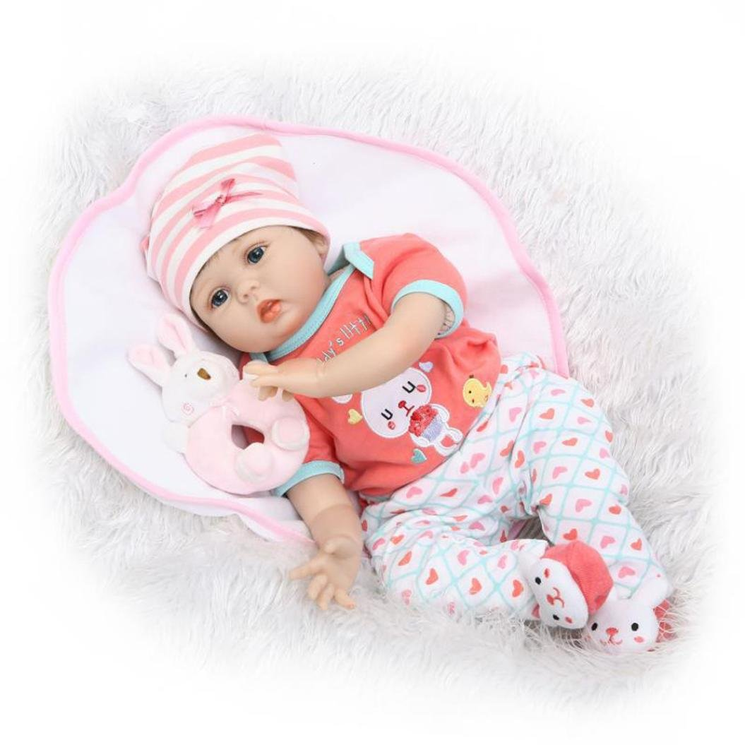 Dirance 22'' Lifelike Reborn Doll Soft Silicone Full Body Adorable Realistic Girl Playmate Doll Vinyl Reallike Handmade Newborn Baby Doll Outfits, Kids Gift for Ages 3+ (B) by Dirance (Image #2)