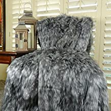Thomas Collection Handmade in USA Luxury Faux Fur Throw Blanket Bedspread for Couch Sofa Bed, Gray Wolf Fur - 16423