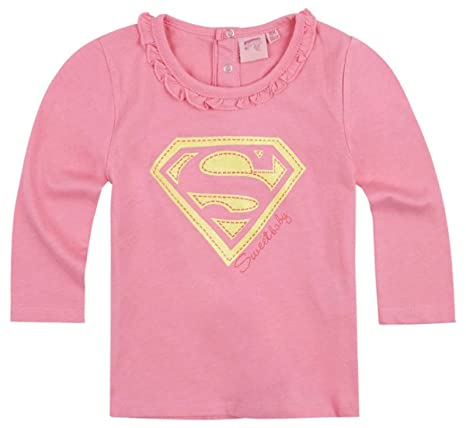 1ecfe39c8 Camiseta de manga larga bebé niña Superman  Sweet Baby  rosa de 3 a ...