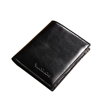 d1c638c0d1943 Genuine Cowhide Leather Extra Capacity Mini Bifold Wallet Black at ...