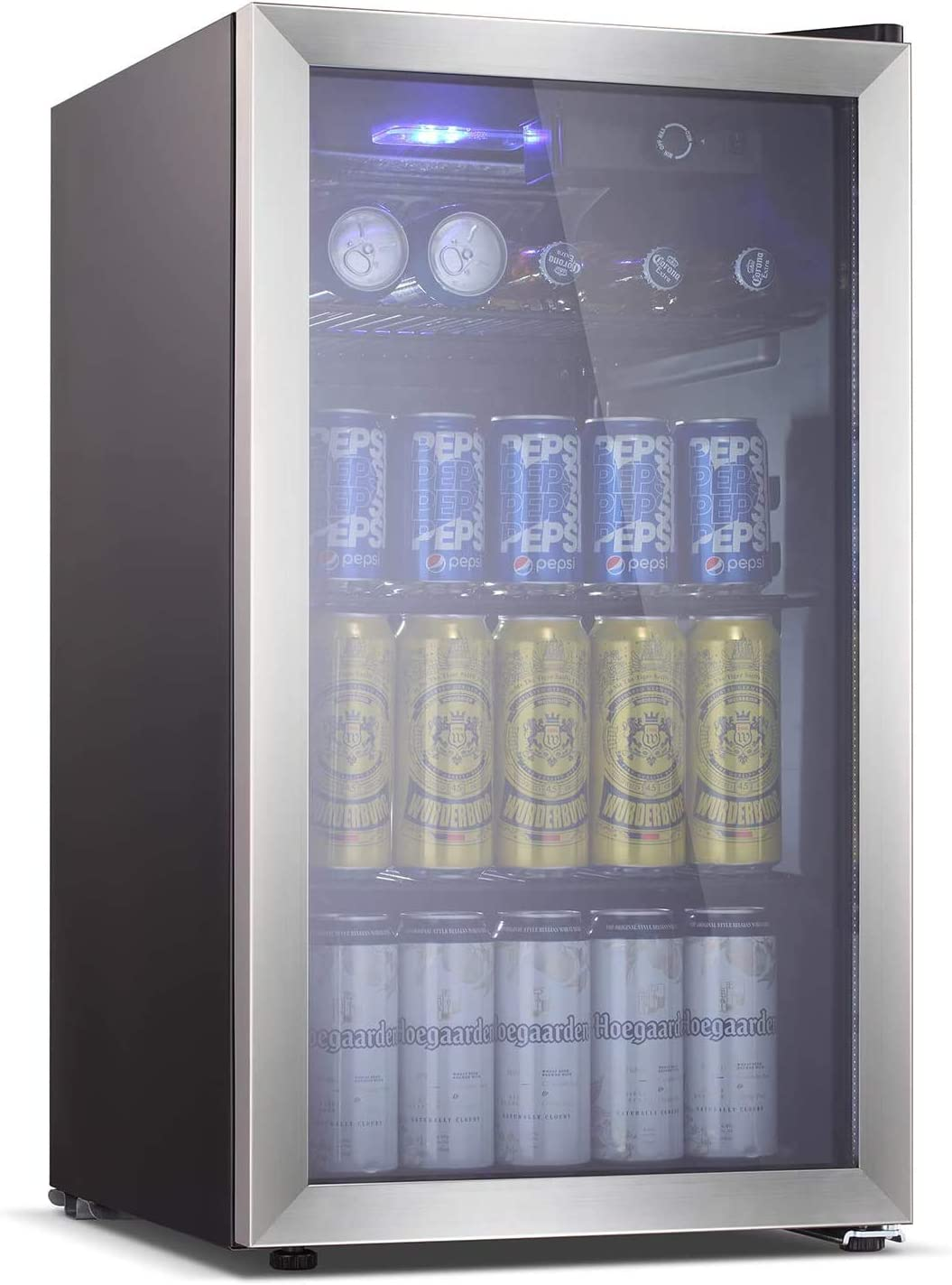 Antarctic Star Beverage Refrigerator -145 Can Mini Fridge for Soda Beer or wine,Small Drink Dispenser, For Office or Bar with Adjustable Removable Shelves,3.2 Cu. Ft. (silver)