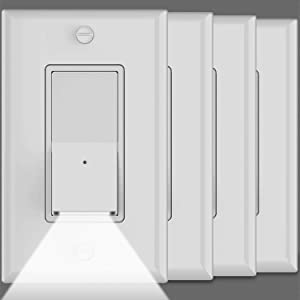 4Pack-SOZULAMP Illuminated Light Switch-Single Pole,Decor Rocker White Wall Light Switches with LED Night Light,15 Amp 120V/277V,Grounding Screw,Dusk to Dawn Sensor,NO Wall Plates(Daylight LED)