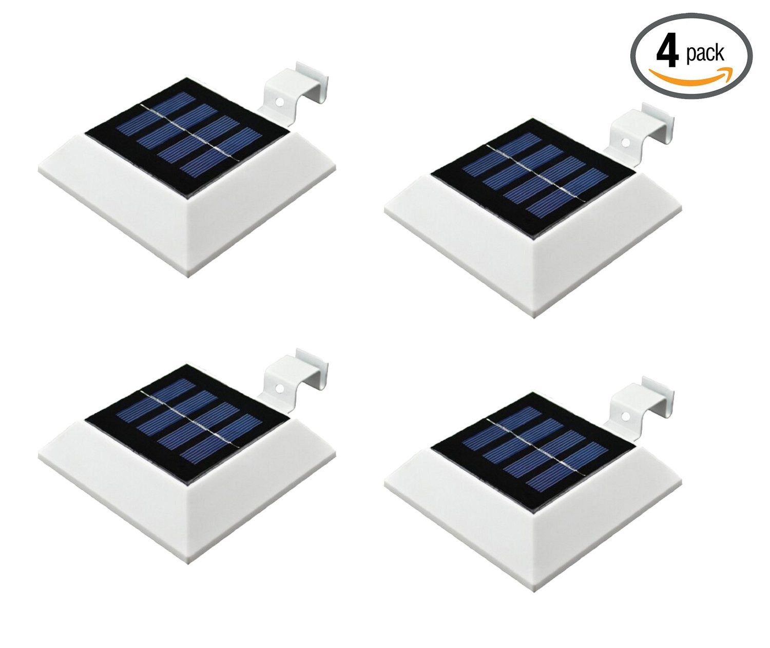 [4 Pack]HKYH Solar Powered Waterproof Security Lamp, 4 LED Solar Gutter Lights for Outdoor Garden, Fence, Dog House, Tree, Outside Garage Door, Wall, Stairs Anywhere Safety Lite with Bracket