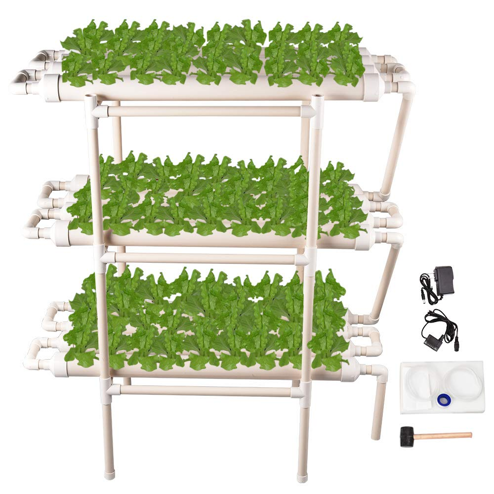 Giraffe-X Hydroponic Grow Kit 108 Sites 12 Pipes 3 Layers Hydroponic Planting Equipment Ebb and Flow Deep Water Culture Balcony Garden System Vegetable Tool Grow Kit by Giraffe-X