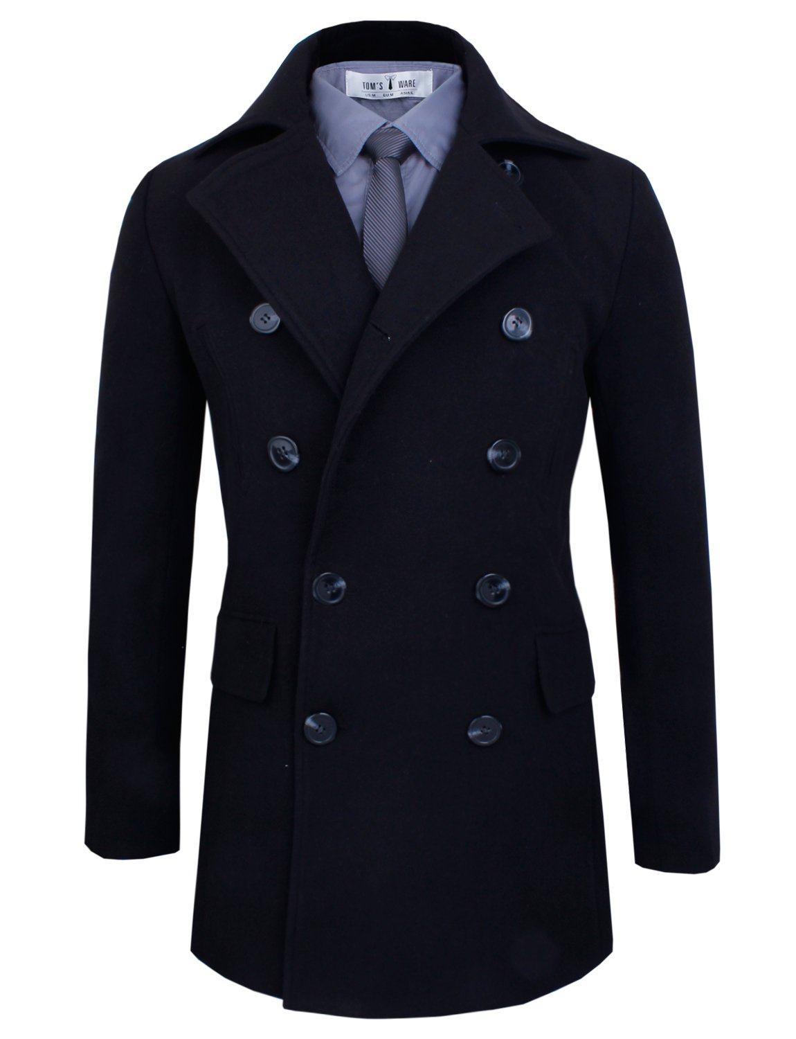 Tom's Ware Men's Stylish Wool Blend Pea Coat TWCC05LQ-D076J-BLACK-US L