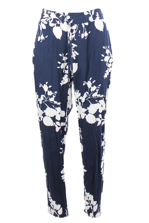 Inc International Concepts Navy Floral Print Soft Pants